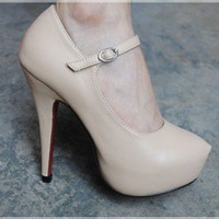 Wholesale Round toe thin heel shoes SY-1042-5 apricot - Lovely Fashion