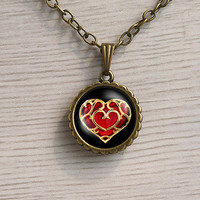Heart pendant, the legend of zelda inspired heart necklace, zelda inspired jewelry, heart container brain jewelry pendant necklace