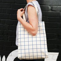 Our Workshop | Grid Tote Bag Blue