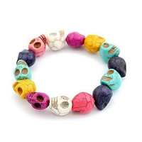Fashion Elastic Colorful Skulls Strand Bracelet at Online Fashion Jewelry Store Gofavor