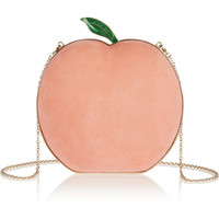 Charlotte Olympia - What A Peach suede clutch