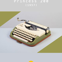 1957 KUKA Princess 300 Typewriter. Green and ivory. Refurbished and fully working. Ultra portable. West Germany. With Case.