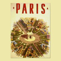 Vintage Travel Poster Arc de Triomphe Paris France