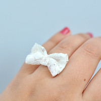 Sweetheart Lace Bow Ring By KimArt - Made To Order | Luulla