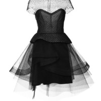Cap Sleeve Peplum Cocktail Dress With Tiered Skirt by Monique Lhuillier - Moda Operandi