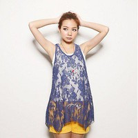 Sweet Two-piece Flowers Pattern Lace Tanktop Jeans Blue-Wholesale Women Fashion From Icanfashion.com