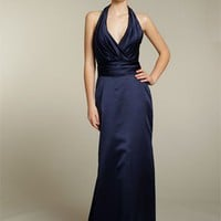 Beautiful Column V-neck Elastic Satin Bridesmaid Dresses Prom Gowns With Ruffles