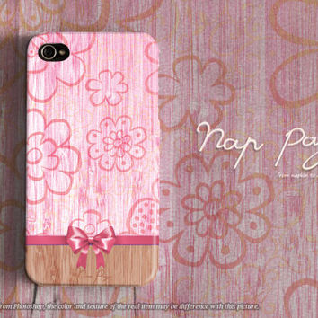 Apple iphone case for iphone iphone 5 iphone 5s iphone 5c iphone 4 iphone 4s iPhone 3Gs : sweet pink flowers with wood (not real wood)