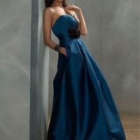 Modern Empire Strapless Taffeta Bridesmaid Dresses Bridal Party Dresses With Flower