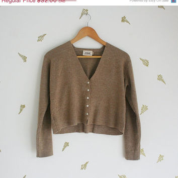 Midsummer Sale 20% Off vtg 90's // cropped cardigan // neutral // v neck // long sleeved // light brown // sweater // top // wool blend // s