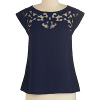 th Short Sleeves Pottery Date Top in Navy