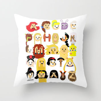 Princess Alphabet Throw Pillow by Mike Boon  Society6