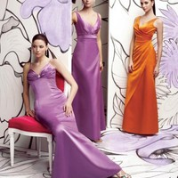 Stylish Empire V-neck Elastic Satin Bridesmaid Dresses Wedding Party Gowns With Sash