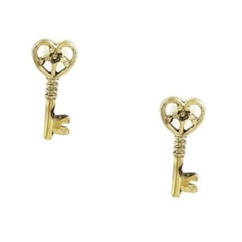 Big Key Stud Earrings - Gold