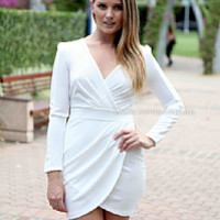 LOTS OF LOVE DRESS , DRESSES, TOPS, BOTTOMS, JACKETS & JUMPERS, ACCESSORIES, 50% OFF , PRE ORDER, NEW ARRIVALS, PLAYSUIT, COLOUR, GIFT VOUCHER,,White,BODYCON,LONG SLEEVES,MINI Australia, Queensland, Brisbane