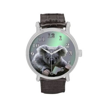 Koala Bear Vintage Leather Strap Watch
