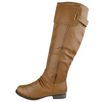Womens Studded Zipper Accent Knee High Riding Boots Cognac Size 5.5-10