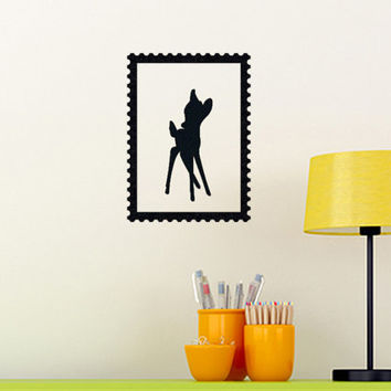 Bambi Wall Decal - Velvet Fabric Wall Sticker - Stamp Frame Wall Decor - Disney Wall Art - Animal iPad Decal