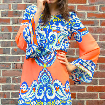 Bell Sleeves Scarf Print Dress - Coral/Multi