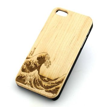GENUINE WOOD Organic Snap On Case Cover for APPLE IPHONE 5 / 5S – GREAT WAVE OFF KANAGAWA japanese…