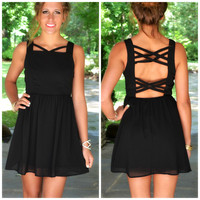 Greystone Black Caged Back Sleeveless Dress