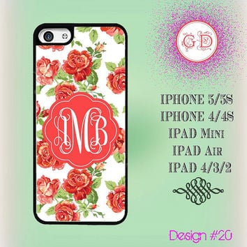 USA Custom Floral Rose Flower Pattern Monogram @ IPhone 5 Case , IPhone 5S Case , IPhone 4 Case ,  IPhone 4S Case , IPad Smart Cover #19
