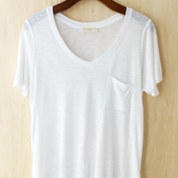 Perfectly Imperfect One-Pocket Shabby Tee Ivory 2