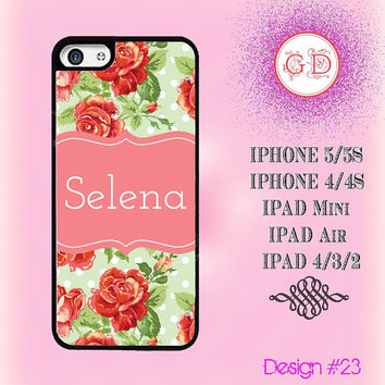 USA Custom Vintage Floral Rose Flower Pattern Monogram @ IPhone 5 / 5S Case , IPhone 4 / 4S Case , IPad Air , IPad Mini Smart Cover #23