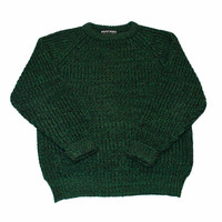 Vintage 80s Green Knit Wool Sweater Made in Gt. Britain Mens Size Large - Default Title