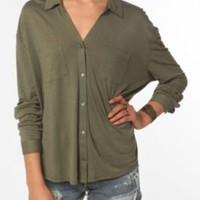 UrbanOutfitters.com &gt; Staring at Stars Button-Down Knit Shirt