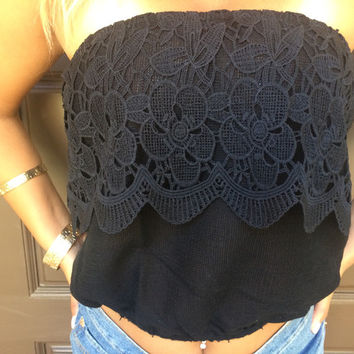 Summer Fiesta Crochet Tube Top  BLACK