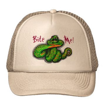Bite Me! guys hat, snake bite, boyfriend gift from Zazzle.com