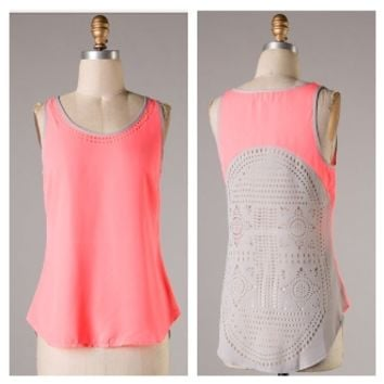 Neon Coral with cut out back detail