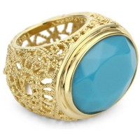 Isharya Round Swirl Filigree Blue Curacao Ring