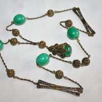 Art Deco Green Glass Necklace Filigree  Opera Length Pendant 1920s Jewelry