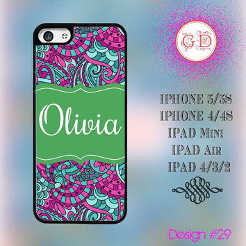 USA Custom Vintage Purple Floral Flower Pattern Monogram @ IPhone 5 / 5S Case , IPhone 4 / 4S Case , IPad Air , IPad Mini Smart Cover #29