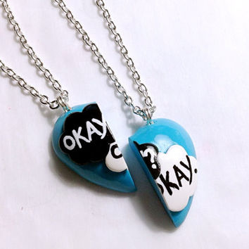 The Fault In Our Stars- Okay Okay Necklace / Okay Okay Best Friend Necklace Set / Keychain /Brooch / Made to Order