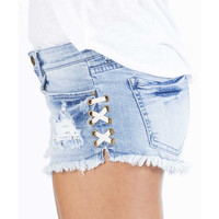 LITE HEARTED SIDE TIE DENIM SHORTS