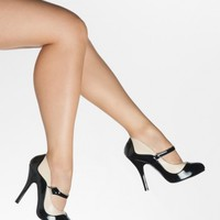 Tempt Two-Tone Mary Jane Heels in Black and Cream