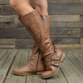 Dally Chesnut Strappy Buckle Riding Boots