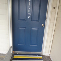Navy, Yellow & Gray Horizontal Wood Door Mat -