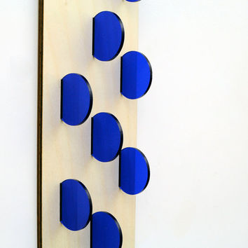 Wall Dots - Wood and Acrylic Wall Hanging Artwork - Simple Minimalist Home Decor with a Touch of Abstract - Vivid Blue Acrylic Circles