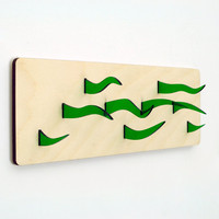 Dragon Grass - 3D Hanging Wall Art - Acrylic and Wood Sculpture - Vivid Green Flame Like Elements