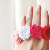 Felt flower ring  Hot pink felt flower adjustable ring by urBunny