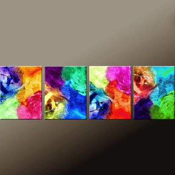 "4PC Abstract Fine Art Print Set  44"" Rainbow Contemporary Modern Art  by Destiny Womack  -…"