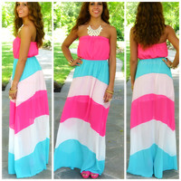 Coconut Grove Fuchsia Striped Maxi Dress