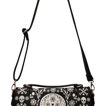 Loungefly Top Handle Skull Quilted Bag in Black and White | Blame Betty