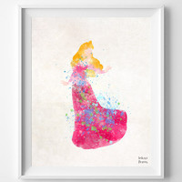 Sleeping Beauty Art, Princess aurora, Watercolor Painting, Print, Poster, Art, Illustration, Watercolour, Nursery Room, Home Decor [NO 346]