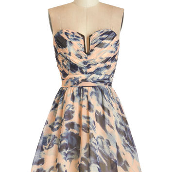 ModCloth Short Strapless Fit   Flare Swirls of Sass Dress