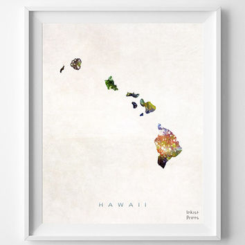 Hawaii Map, Painting, Watercolor, Home Town, Poster, Art, USA, States, America, Wall Decor, silhouette, state love [NO 328]
